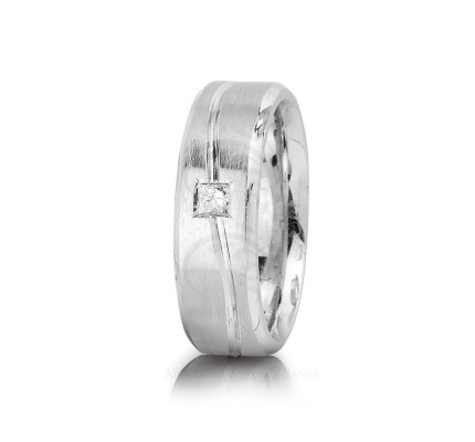 0.12 Ctw Princess Diamond Carved Lines Wedding Band 7mm 01313