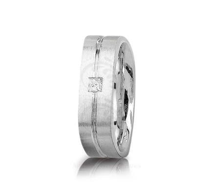 0.15 Ct Princess Diamond Carved Lines Band Wedding 7mm 01314