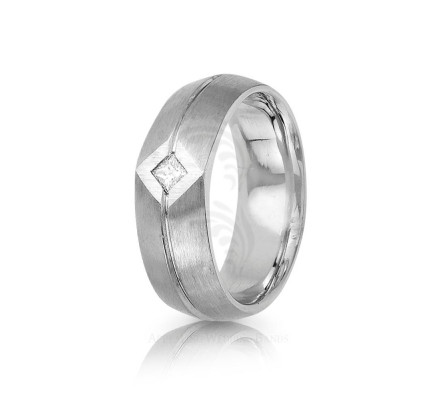 0.1 Ctw Princess Diamond Carved Lines Ring Wedding 8mm 01315
