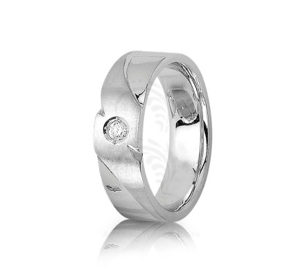 0.08 Ctw Round Diamond Carved Lines Wedding Band 7mm 01320