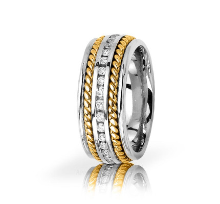 0.88 Ctw Round Diamond Braided Rope Edge Wedding Band 9.5mm 01536