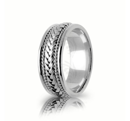 Handwoven Polish Braided Basket Weave Wedding Ring 8mm