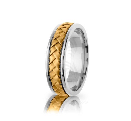 Handwoven Polish Braided Basket Weave Wedding Ring 7mm