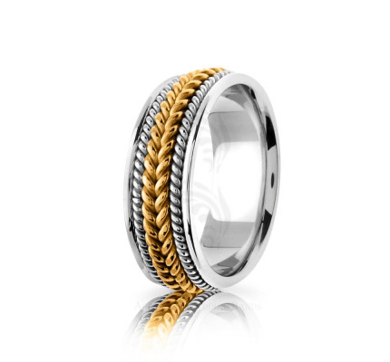 Handwoven Polish Braided Rope Edge Wedding Band 8mm