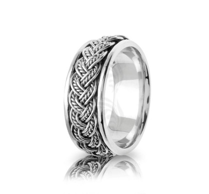 Handwoven Polish Braided Hair Braid Wedding Ring 8mm