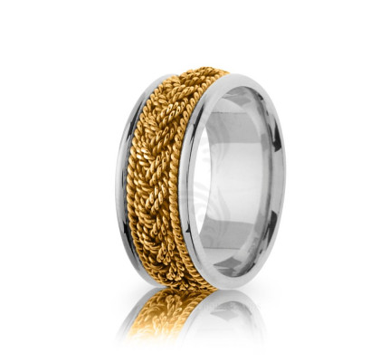 Handwoven Polish Braided Hair Braid Wedding Ring 10mm
