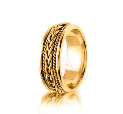 Handmade Polish Braided French Braid Wedding Ring 7mm