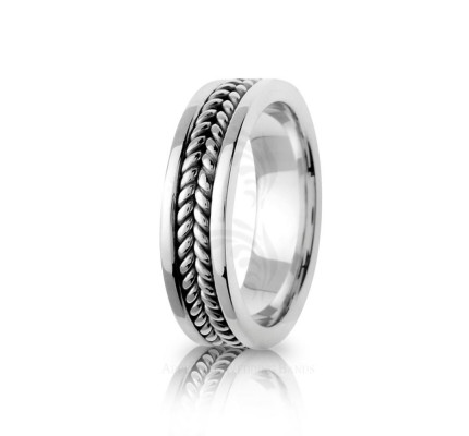 Handmade Polish Braided Coil Twist Wedding Ring 6mm