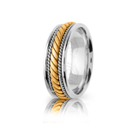 Handmade Polish Braided Coil Twist Wedding Band 7mm