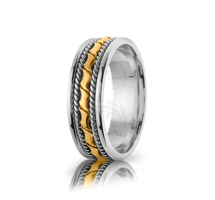 Handmade Polish Braided Coil Twist Wedding Band 6mm