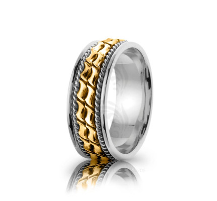 Handwoven Polish Braided Coil Twist Wedding Band 8mm