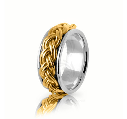 Handmade Polish Braided Hair Braid Wedding Band 10mm