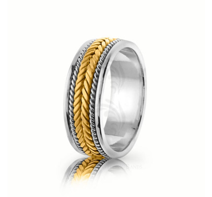 Handmade Polish Fern Braided Wedding Band 7mm