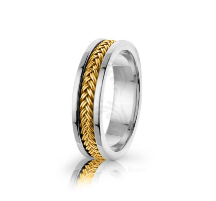 Handmade Polish Braided Hair Braid Wedding Band 6mm