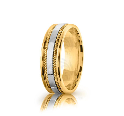 Handwoven Polish Braided Rope Edge Wedding Ring 7mm