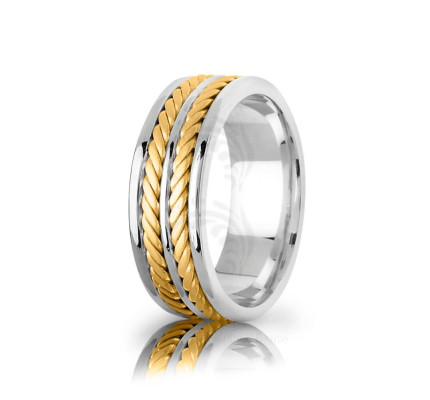 Handmade Polish Braided Yellow Gold Double Rope Edge Wedding Ring 7.5mm