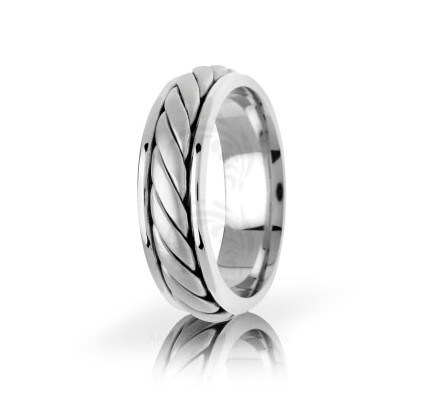 Handwoven Polish Braided Coil Twist Wedding Band 6.5mm