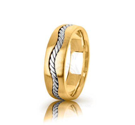 Handmade Polish Braided Rope Edge Wedding Band 6.5mm
