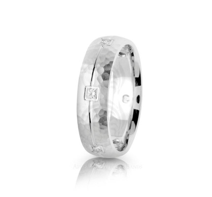 0.3 Ctw Round Diamond Carved Lines Hammered Wedding Band 6mm 01775