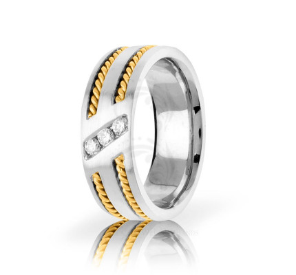 0.15 Carat Round Diamond Braided Rope Edge Wedding Band 8mm 01794