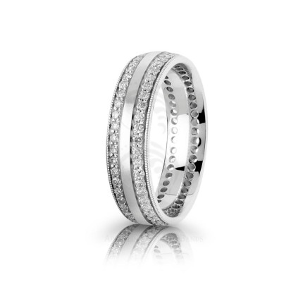 0.96 Ctw Round Diamond Carved Lines Band Wedding 6mm 01798