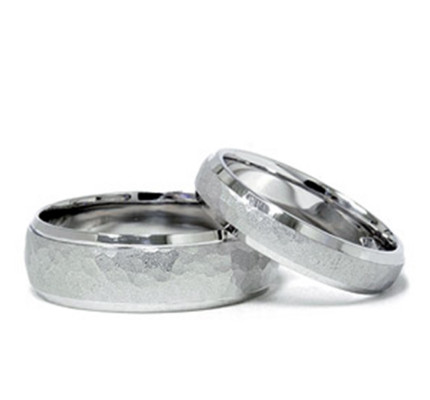 Polish Hammered Ladies And Mens Matching Wedding Bands 4mm, 7mm 02017