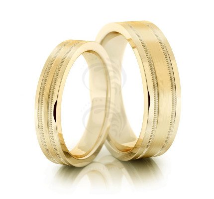 Polish Brush Milgrain Flat Ladies And Mens Wedding Rings 4mm, 6mm 02030