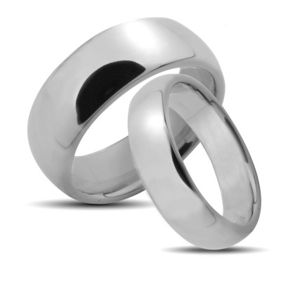 Polish Low Dome His Hers Wedding Rings 4mm, 6mm 02039