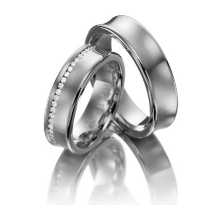 Satin Concave Couples Wedding Rings 0.4 Ctw Round Diamond 6mm 02070