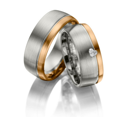 Satin Low Dome His And Hers Wedding Bands 8mm 02075