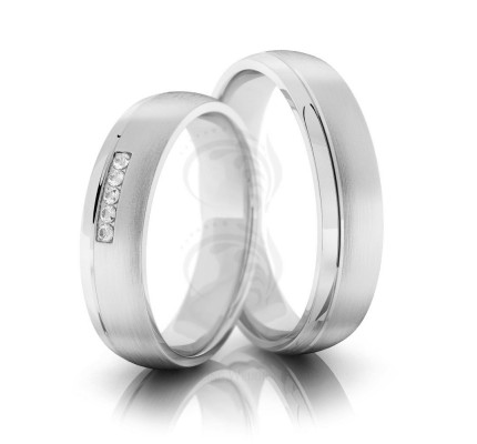 Brush Low Dome Grooved Couples Wedding Bands 0.05 Ctw Round Diamond 5mm 02084