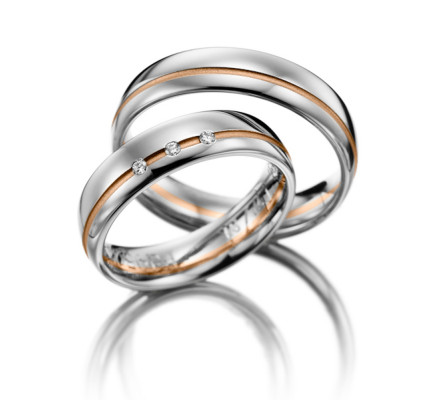 Polish Low Dome Grooved Ladies And Mens Matching Wedding Rings 0.02 Carat Round Diamond 5.5mm 02088