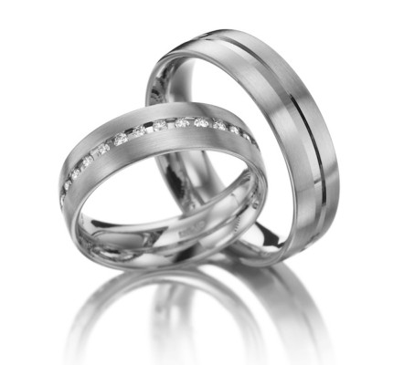 Satin Low Dome His And Hers Matching Wedding Rings 0.22 Ctw Round Diamond 6mm 02097
