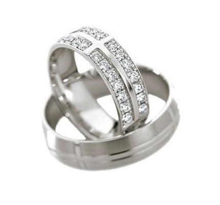 Satin Dome His And Hers Wedding Rings 1.4 Ctw Round Diamond 6mm 02132