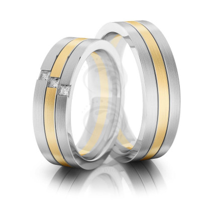 Satin Flat Lines Ladies And Mens Matching Wedding Bands 0.12 Carat Princess Diamond 6mm 02170