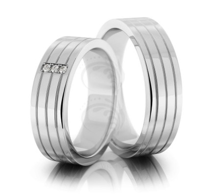 Polish Flat Lines Ladies And Mens Matching Wedding Bands 0.04 Carat Round Diamond 6mm 02174