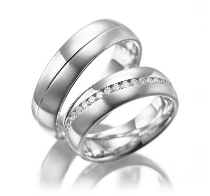 Satin Low Dome Grooved Couples Wedding Rings 6.5mm 02178