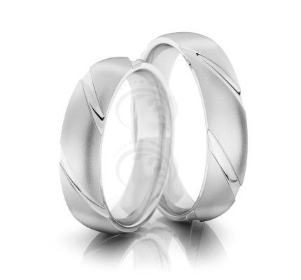 Satin Low Dome Couples Wedding Bands 5mm 02181
