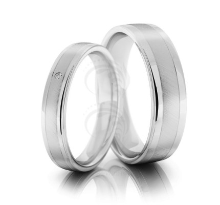 Satin Flat His And Hers Wedding Bands 0.01 Ctw Round Diamond 4mm, 6mm 02193