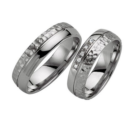 Polish Dome Hammered Grooved Ladies And Mens Matching Wedding Rings 0.05 Ctw Round Diamond 5.5mm 02194