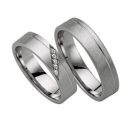 Satin Flat Grooved Matching Wedding Bands 0.05 Ctw Round Diamond 5mm 02195