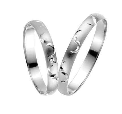 Satin Carved Low Dome His And Hers Matching Wedding Bands 0.01 Ctw Round Diamond 3mm 02241