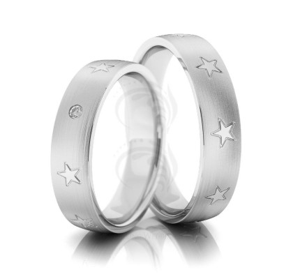 Satin Stars Low Dome His And Hers Wedding Rings 0.02 Ctw Round Diamond 5mm 02243