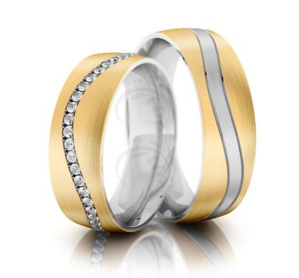 Satin Flat His Hers Wedding Bands 0.48 Carat Round Diamond 6.5mm 02268