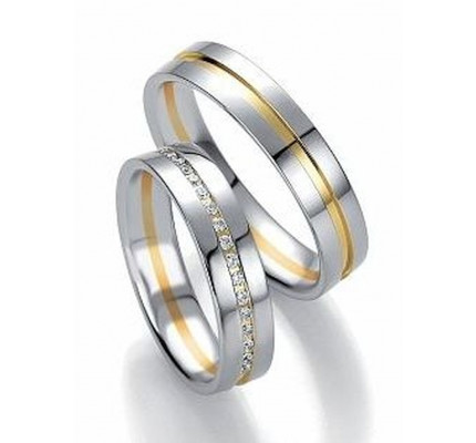 Polish Flat Channel His And Her Wedding Rings 0.17 Carat Round Diamond 5mm, 6mm 02275