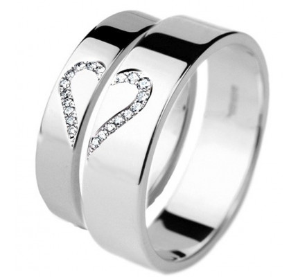 polish flat his hers wedding rings 02 ctw round diamond 4mm 6mm 02286 - His Hers Wedding Rings