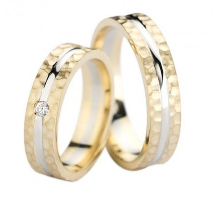 Polish Flat Hammered His Hers Wedding Bands 0.05 Carat Round Diamond 5mm 02297