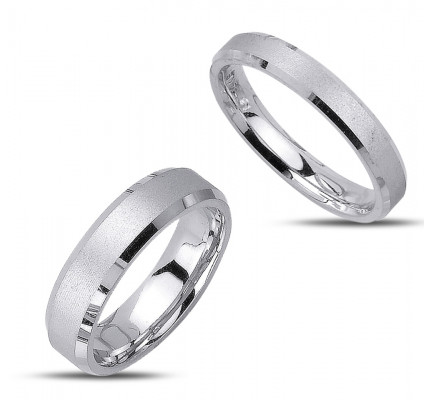 Satin His Hers Wedding Rings 4mm, 6mm 02341