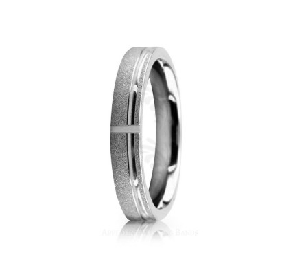 Solid Polish Sandstone Stylish Wedding Ring 4mm 02529