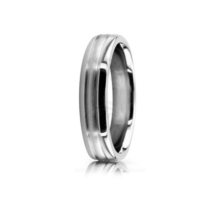 Authentic Satin Stylish Wedding Band 5mm 02539